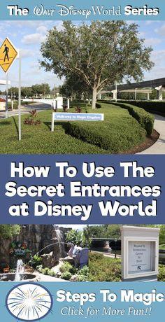 Secret Entrances to Disney World Parks – Paris Disneyland Pictures Voyage Disney World, Disney World Secrets, Disney World Tips And Tricks, Disney World Trip, Disney Tips, Disney Travel, Disney Disney, Disney Stuff, Disney World Cheap