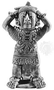 Xipe Totec - Our Lord of the Flayed One  God of suffering and diseases and goldsmiths. His worship required the flaying of a slave and the wearing of his skin.