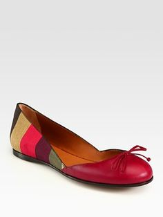 Fendi Pequin Leather and Canvas Logo Ballet Flats