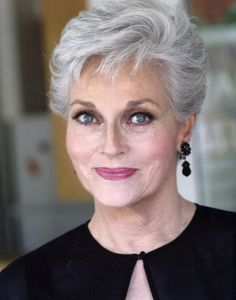 Lee Meriwether age 74.  I love this ladies' hair.  I have to work very hard to get this look as my hair is getting a little thin on top.  Now if I could just have her face as well life would be good.