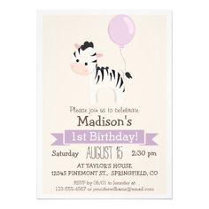 Baby Zebra Girl's Birthday Party Invitation