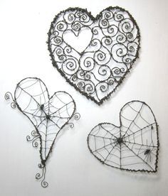 Twisted Spider Web Barbed Wire Valentines Day Heart - I want the heart without a spider, but all of his work is creepiliy wonderful!