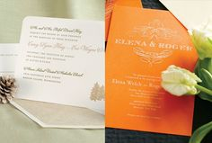 @Four Seasons Bridal Guests will get a peek at your wedding's style and theme when they receive your wedding invitation in the mail. For a woodland theme, choose something like this white letterpress card with a pine tree motif and rich ink colours. Or, opt for this formal orange design with a calligraphed crest motif in oyster white. Both by William Arthur.