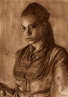 Zethu Dlomo as Madi in 'Black Sails'.  Freehand sketch using HB pencil and eraser. Darkened and tinted digitally.