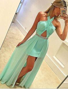 Mint Green Prom Dress,Halter Sleeveless Floor-length Prom Dress with Beading,MB 114