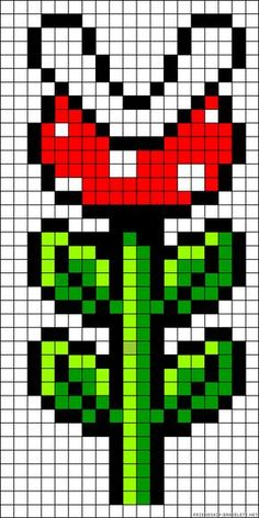 PIranha Plant Mario perler bead pattern by clara - diy Perler Beads, Perler Bead Mario, Fuse Beads, Perler Bead Designs, Pixel Art Templates, Perler Bead Templates, Hama Beads Patterns, Beading Patterns, Loom Patterns