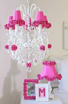 Pink chandelier shade with roses pink chandelier chandelier a vintage room 5 light chandelier with hot pink rose shades mozeypictures Gallery