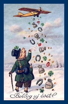 Happy New Year - Hungarian Vintage Greeting Cards, Vintage Christmas Cards, Vintage Holiday, Vintage Postcards, Happy New Year Cards, Happy New Year 2019, New Year Clipart, Pig Images, Happy Pig