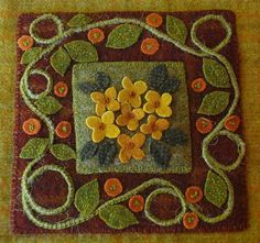 Items similar to Autumn fall primitive wool applique wall hanging hand dyed gold red rug hooking wool penny rug orange red gold wool quilt block garden twine on Etsy Felt Embroidery, Felt Applique, Applique Quilts, Flower Applique, Penny Rug Patterns, Wool Applique Patterns, Wool Quilts, Wool Rugs, Wool Pillows