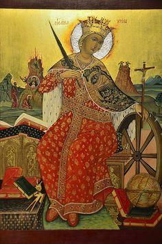 Saint Catherine of Alexandria Icon by Elzbieta Fazel St Catherine Of Alexandria, Saint Katherine, Orthodox Christianity, Orthodox Icons, Madonna, Saints, Embroidery, Painting, Image
