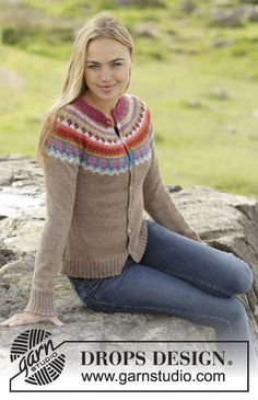 "Stavanger - Set consists of: Knitted DROPS jumper worked top down with round yoke and multi-coloured pattern on yoke in ""Alpaca"". Hat with multi-coloured pattern in ""Alpaca"". - Free pattern by DROPS Design Stavanger, Fair Isle Knitting Patterns, Fair Isle Pattern, Knit Patterns, Tejido Fair Isle, Punto Fair Isle, Drops Design, Cardigan Design, Knit Cardigan Pattern"