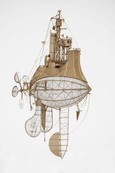 Fantásticos navios voadores de papelão - 2 enjoy #arte #miniatura #esculturas #miniatures #navio #barco