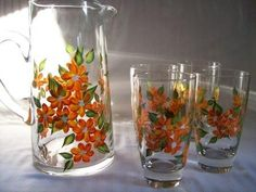 Pitcher and Glasses Hand painted with Bougainvilleas