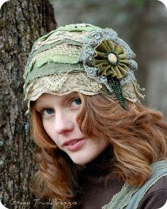 Rustic Forest Flapper Cap ❤ by www.etsy.com/shop/GreenTrunkDesigns