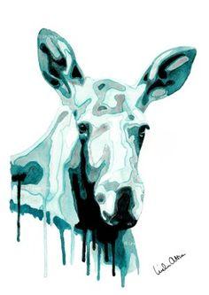 Moose portrait - turquoise - print -  A4 - Illustration by Linda Otton