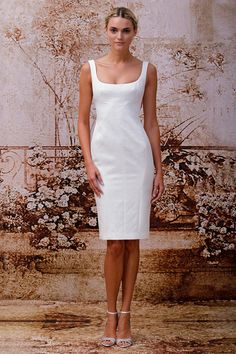 Julia - Silk white embossed jacquard open scoop neck seamed shift dress. Avril Shoe - Ivory satin sandal with side dart and Swarovski detail