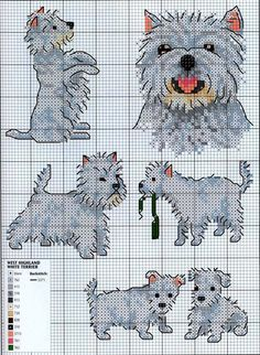 Westies West Highland White Cross Stitch Patterns and Motifs Ago-Works Butterfly: cani e cuccioli Punto Croce Schemi Cross Stitch Bird, Cross Stitch Animals, Cross Stitch Charts, Cross Stitch Designs, Cross Stitching, Cross Stitch Embroidery, Embroidery Patterns, Cross Stitch Patterns, Hand Embroidery