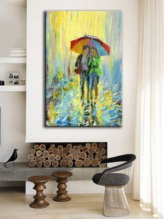 LOVE THIS!  Abstract -Oil Painting-Acrylic Painting- Landscape -Cityscape Umbrellas - Ready to Hang -18inX36in