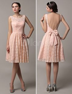 2015 Short Lace Illusion Scoop Back Bridesmaid Dress With Bow - Milanoo.com