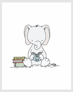Nursery Art Elephant Reader Elephant Nursery Art Print