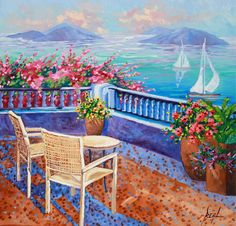 The Overlook Landscape Original Oil Painting  Modern by rbealart, $450.00