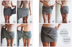 I love this simple DIY wrap skirt Diy Fashion, Ideias Fashion, Fashion Tips, Fashion Beauty, Skirt Fashion, Fashion Clothes, Style Fashion, Mens Fashion, Fashion Trends