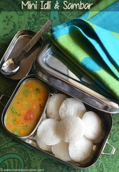 Mini Idli and Sambar - Kids Lunch Box Recipes - Lunch Box Idea 11