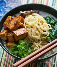 "This vegetarian ramen soup gets its full flavor from several different umami-rich ingredients like mushrooms and miso paste. Umami is the fifth of the basic tastes like sweet, salty, sour, and bitter. The word directly translates in Japanese to ""pleasant savory taste"" but it's more commonly known as ""delicious"" in the culinary world. Make your own broth combined with green vegetables and springy fresh noodles make this dish a comforting, hearty option!"