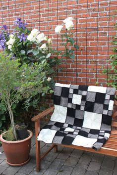 Handmade Granny Square Blanket LOVE the blacks whites and greys in different sizes and