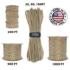GOLBERG 550lb Parachute Cord Paracord - 100% Nylon USA Made Mil-Spec Type III Paracord - Used by the US Military - Multiple Colors & Lengths Available. For product & price info go to:  https://all4hiking.com/products/golberg-550lb-parachute-cord-paracord-100-nylon-usa-made-mil-spec-type-iii-paracord-used-by-the-us-military-multiple-colors-lengths-available/