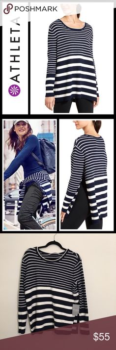 Athleta Striped Kennewick Sweater NWT New with tags, This whenever-wherever stripe sweater boasts all the natural warmth of Merino wool, a beyond-soft feel and a long side slit for mobility - sooo soft, oversized fit - size is XS but could easily fit a small or medium. Athleta Sweaters