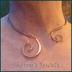 Spiral Shiny Copper Neck Ring Neckwire Collar Viking Torc Pendant