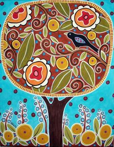 Tree Bird Flowers 8x10 Canvas Giclee Print Karla Gerard