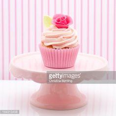 Stock Photo : Pink rose cupcake