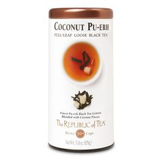The Republic Of Tea Coconut Pu-Erh Full-Leaf Tea, 3.0 Ounces / 50 Cups -- Details can be found by clicking on the image. (This is an affiliate link) #TeaSamplers