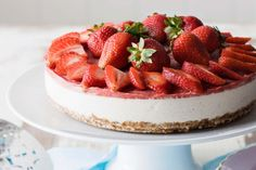 This raw vegan cheesecake has everything: the crumbly, golden base; the creamy filling and a tangy frozen strawberry topping. It's also dairy-free, gluten-free, egg-free and no-bake.