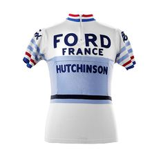 Check out Magliamo's Jacques Anquetil Ford France 1965 Merino Wool cycling jersey, true replica with vintage chainstitch embroidery and correct pantone colors.