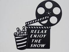 Clapboard, Movie Reel Relax Enjoy the Show Home Movie Theater Decor Metal Wall Art - Claboard Relax Enjoy the Show Measures Tall By Wide - Durable Black Powder Coat Finish - Hand made in the U Movie Theater Decor, Home Theater Setup, Home Theater Speakers, Home Theater Projectors, Home Theater Design, Home Theater Seating, Movie Reel Decor, Theatre, Outdoor Theater