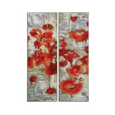"Uttermost 31201 Scarlet Poppies 16""W x 48""H Impressionist Paintings - ($273) ❤ liked on Polyvore featuring home, home decor, wall art, canvas art, hand painted canvas, wall decor, uttermost wall art, poppy wall art, poppy flower painting and uttermost home decor"
