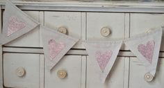 Pink Glitter Heart Fabric Banner Bunting Blush Wedding by LoveSews