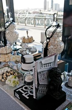 Chanel inspired wedding dessert buffet. Cake: Love and Lace Cupcakes, cookies: One Sweet Girl