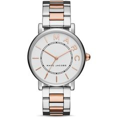 Marc Jacobs Roxy Watch, 36mm (780 RON) ❤ liked on Polyvore featuring jewelry, watches, stainless steel jewelry, marc jacobs, stainless steel wrist watch, marc jacobs jewelry and white jewelry