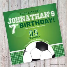 Soccer Birthday Invitation DIGITAL FILE