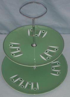 Vintage two tier Cake stand Palissy Kon-Tiki Green 1950 s Mid Century Atomic