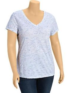 Women's Plus Space-Dye V-Neck Tees | Old Navy