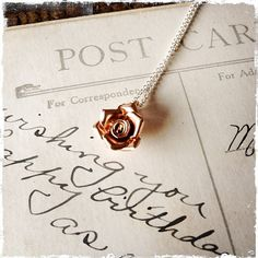 ROSE CITY NECKLACE - Pink Rose necklace - 24k rose gold vermeil- sterling silver - rose charm