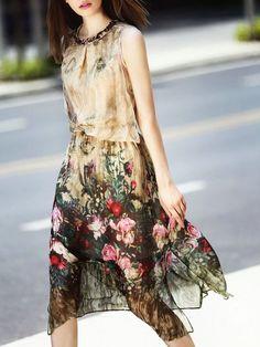 Vestido Floral Estampado Cuello Trenza sin Manga