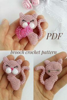 If you are a cat or cute brooch lover, or you have a little princess, this brooch pattern is just for you. You can see yourself what a beauty this brooch))) catbroochpattern crochetpattern broochcrochetpattern amigurumibroochcrochetpattern catbrooch Crochet Animal Amigurumi, Crochet Animal Patterns, Crochet Doll Pattern, Crochet Bunny, Cute Crochet, Crochet Dolls, Crochet Yarn, Crochet Flowers, Knitting Patterns