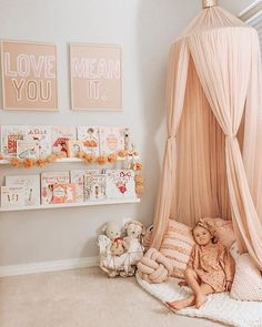 Big Girl Room with Canopy Big Girl Rooms big Canopy Girl room Up House, Toy Rooms, Project Nursery, Nursery Ideas, Little Girl Rooms, Kid Spaces, Girls Bedroom, Kids Room, Toddler Room Girls