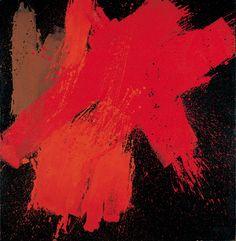 Markus Prachensky | Verschiedene Rot auf Schwarz | 1956 | Dauerleihgabe der Sammlung Batliner   #Abstract #Albertina #Art #Red #Prachensky Installation Art, Albertina, Street Art, Abstract Art, Sculptures, Austria, Artist, Painting, Red